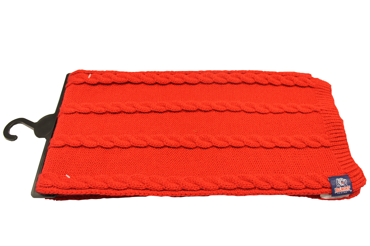 SCARF-RED BRUINS LABEL