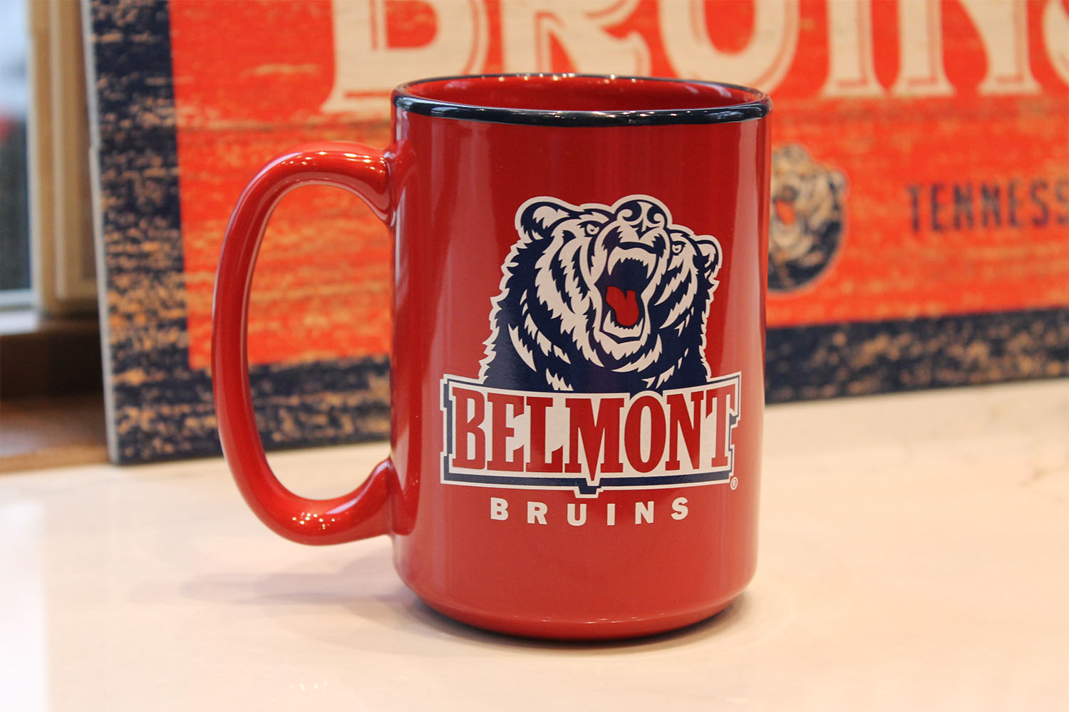 Image For MUG- RED BRUIN WITH NAVY TRIM